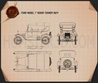 Ford Model T 4door Tourer 1924 Blueprint