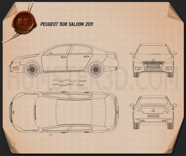 Peugeot 508 saloon 2011 Blueprint
