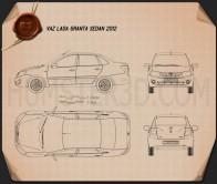Lada Granta sedan 2012 Blueprint