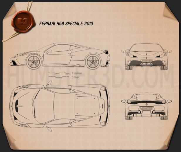 Ferrari 458 Speciale 2013 Blueprint