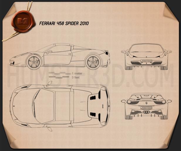 Ferrari 458 Spider 2010 Blueprint