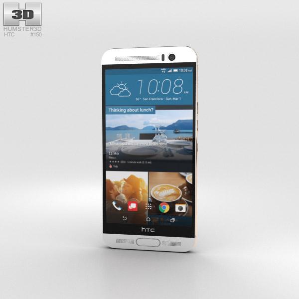 HTC One M9+ Silver Gold Modello 3D