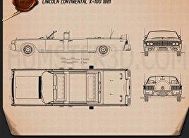 Lincoln Continental X-100 1961 Blueprint