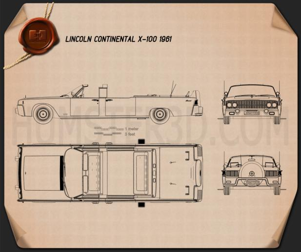 Lincoln Continental X-100 1961 Blueprint