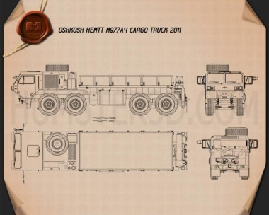 Oshkosh HEMTT M977A4 Cargo Truck 2011 Blueprint