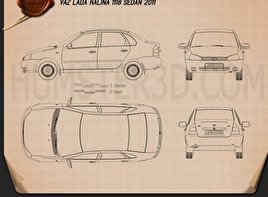 Lada Kalina (1118) sedan 2011 Blueprint