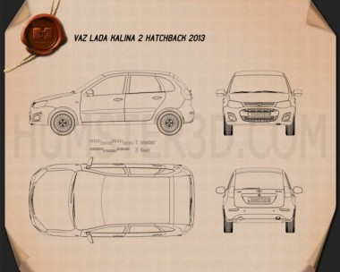 Lada Kalina 2 hatchback 2013 Blueprint