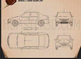 Renault Logan Sedan 2011 Blueprint