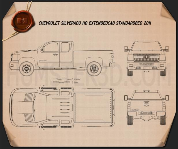 Chevrolet Silverado HD Extended Cab Standard Bed 2011 Blueprint