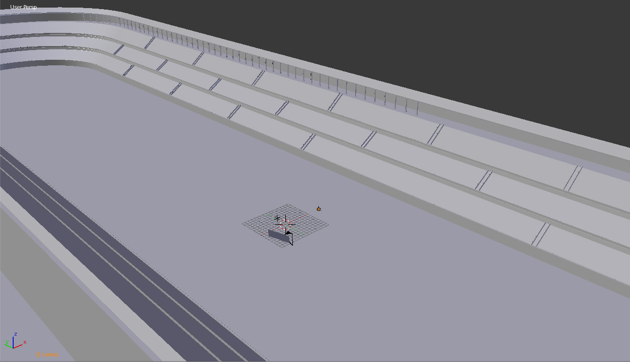 I modeled the simple geometry of Circus Maximus in Blender