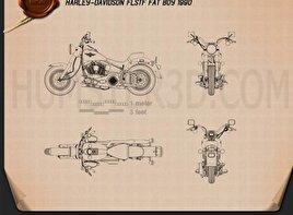 Harley-Davidson FLSTF Fat Boy 1990 Blueprint
