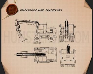Hitachi Z140W-5 Wheel Excavator Blueprint