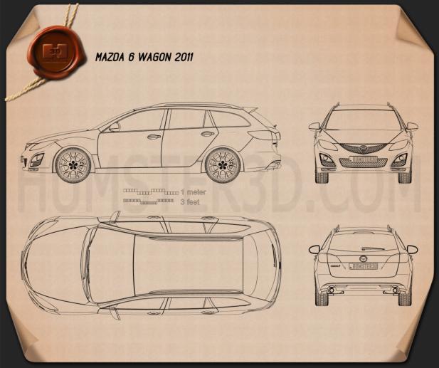 Mazda 6 Wagon 2011 Blueprint