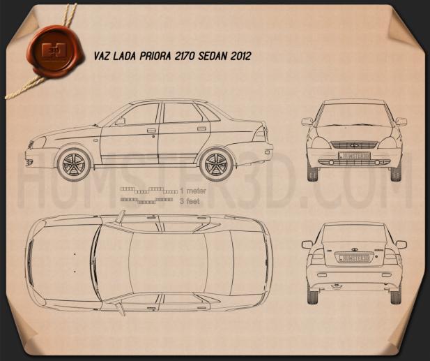 Lada Priora 2170 sedan 2012 Blueprint