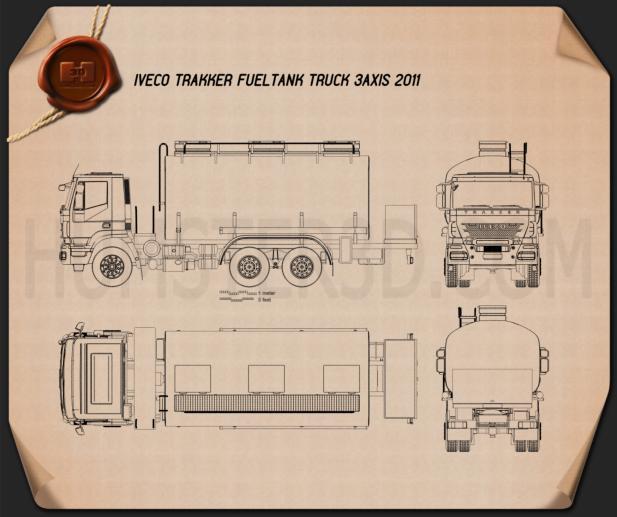 Iveco Trakker Fuel Tank Truck 2012 Blueprint
