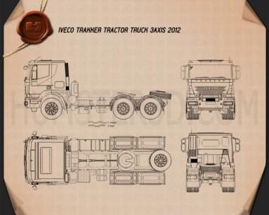 Iveco Trakker Tractor Truck 3-axle 2013 Blueprint