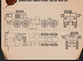 Oshkosh HEMTT M983A4 Patriot Tractor Truck 2011 Blueprint