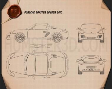Porsche Boxster Spyder 2011 Blueprint