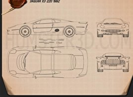 Jaguar XJ220 1992 Blueprint