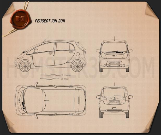 Peugeot iOn 2011 Blueprint