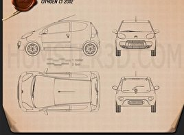 Citroen C1 3-door 2012 Blueprint