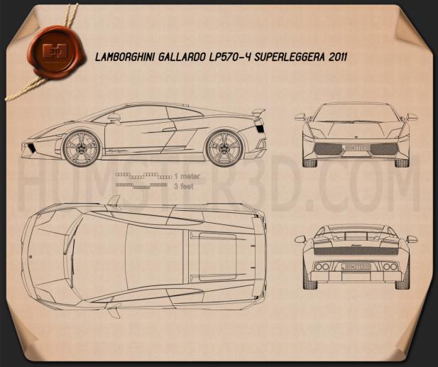 Lamborghini Gallardo LP570-4 Superleggera 2011 Blueprint