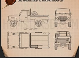 Land Rover Defender 110 High Capacity Pickup 2011 Blueprint