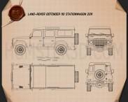 Land Rover Defender 110 Station Wagon 2011 Blueprint 3d model