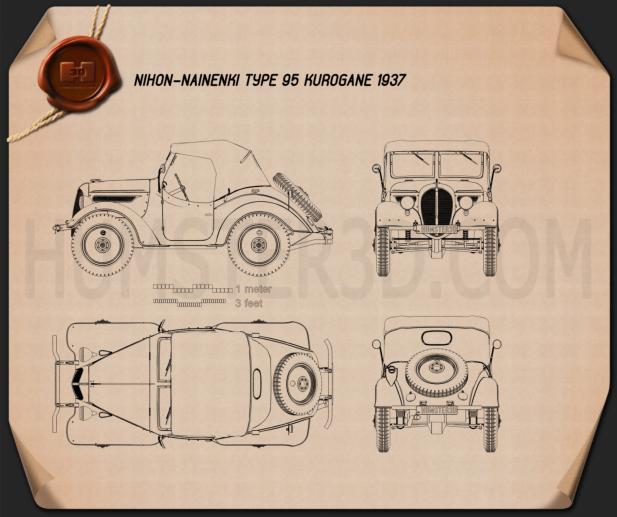 Nihon Nainenki Type 95 Kurogane 1937 Blueprint