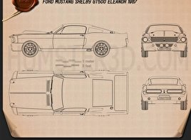 Muscle car blueprint 3d models download hum3d ford mustang shelby gt500 eleanor 1967 blueprint malvernweather Gallery