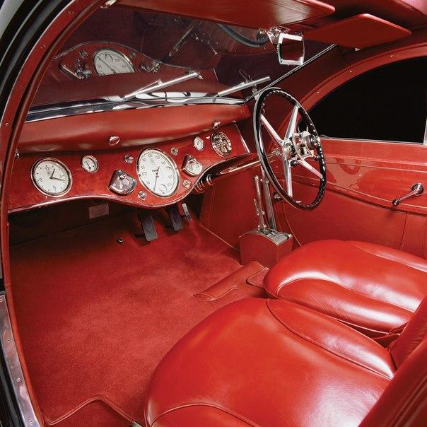 The original 1934 red leather interior restored
