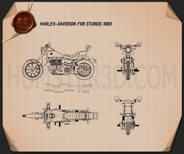 Harley-Davidson FXB Sturgis 1980 Blueprint