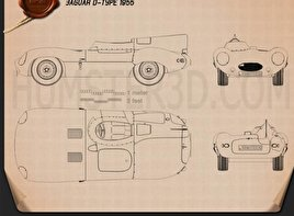 Jaguar D-Type 1955 Blueprint