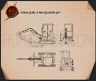 Hitachi ZX38U-5 Mini Excavator 2014 Blueprint