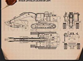 Hitachi ZX470LCH Excavator 2014 Blueprint