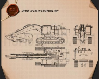 Hitachi ZX470LCH Excavator 2014 Blueprint