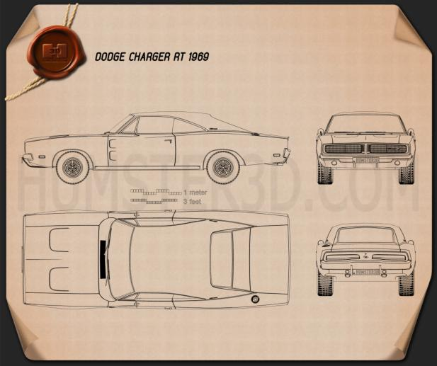 Dodge Charger RT 1969 Blueprint