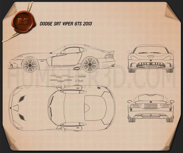 Dodge SRT Viper GTS 2012 設計図