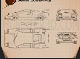 Lamborghini Countach 5000 QV 1985 Blueprint