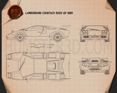 Lamborghini Countach 5000 QV 1985 Blueprint