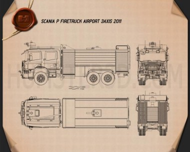 Scania P Fire Truck Airport 2011 Blueprint