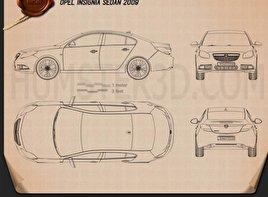 Opel Insignia Sedan 2009 Blueprint