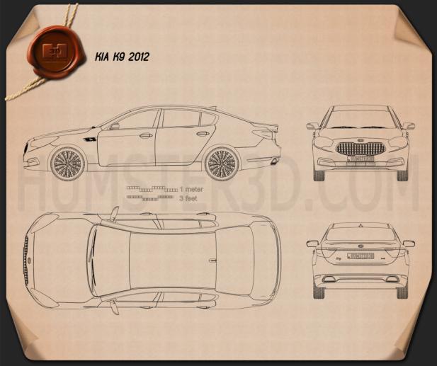 Kia K9 Quoris 2013 Blueprint