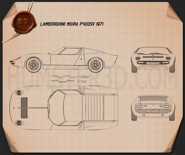 Lamborghini Miura P400SV 1971 Blueprint