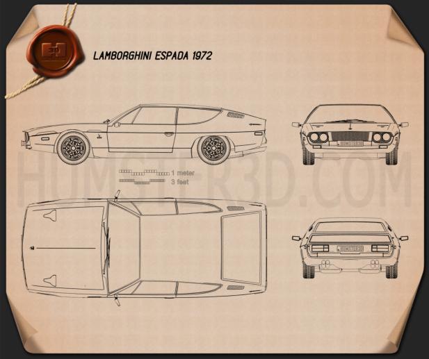 Lamborghini Espada 1972 Blueprint