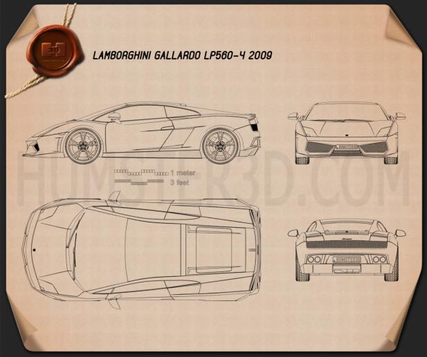 Lamborghini Gallardo LP 560-4 2009 Blueprint