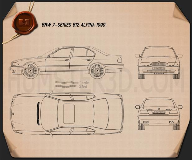 BMW 7 Series B12 Alpina 1999 Blueprint