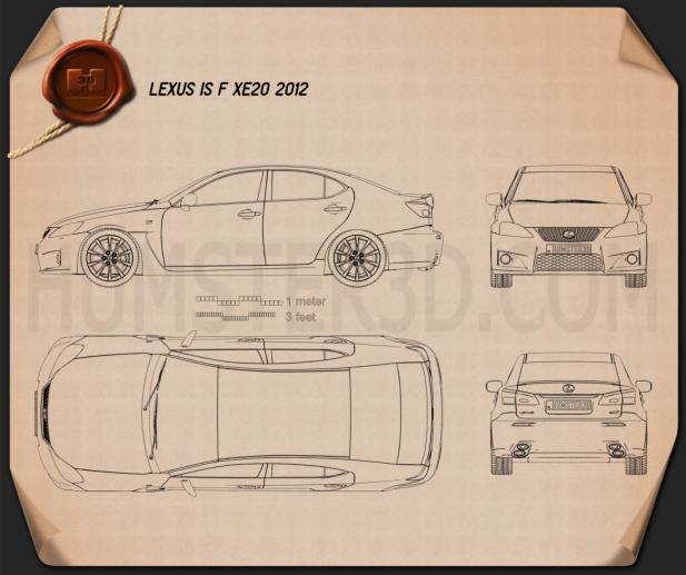 Lexus IS F (XE20) 2012 Blueprint