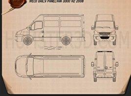 Iveco Daily Panel Van 3300 H2 2008 Blueprint