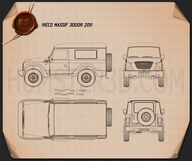 Iveco Massif 3-door 2011 Blueprint